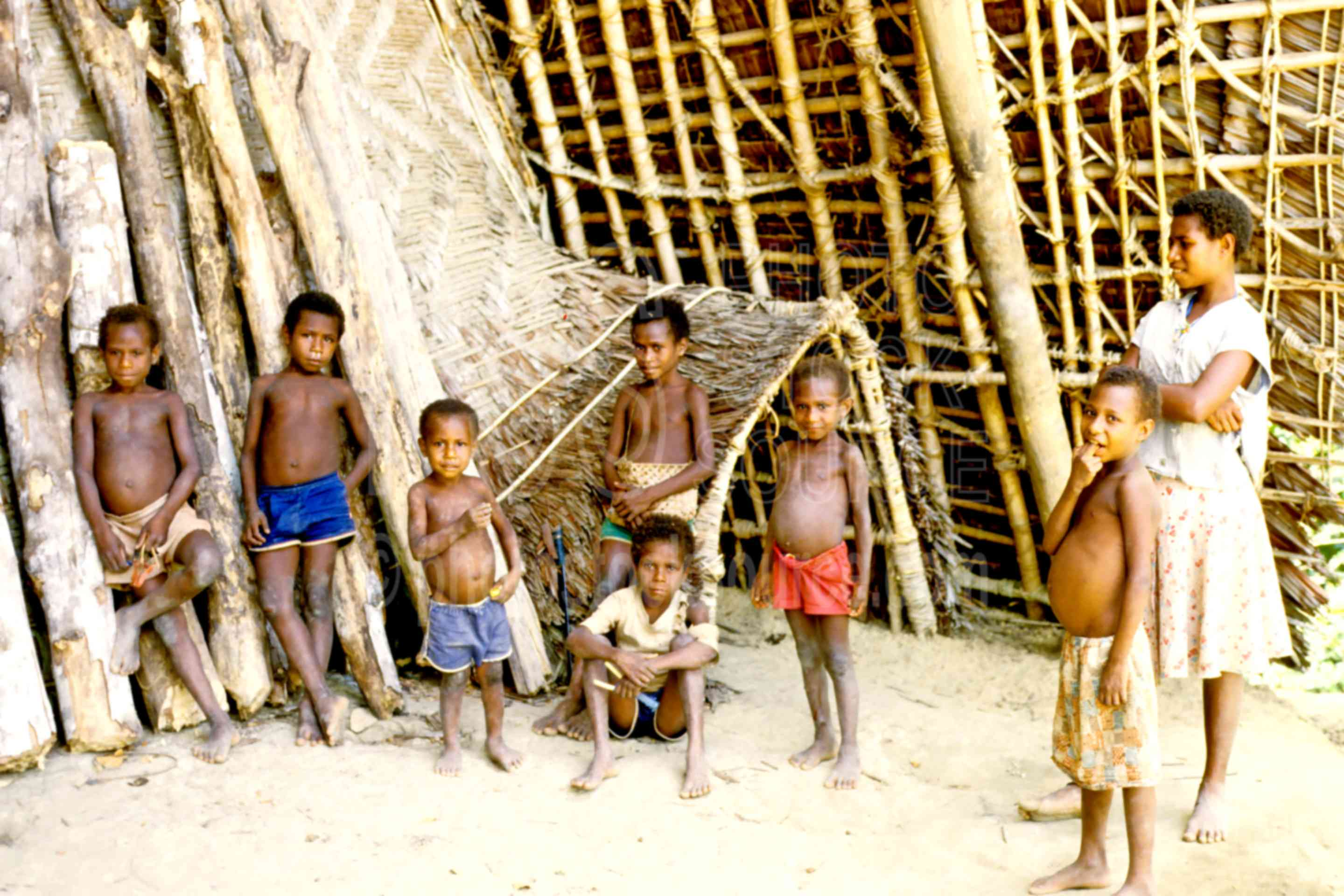 Front of Haus Tambaran,boys,children,house,huts