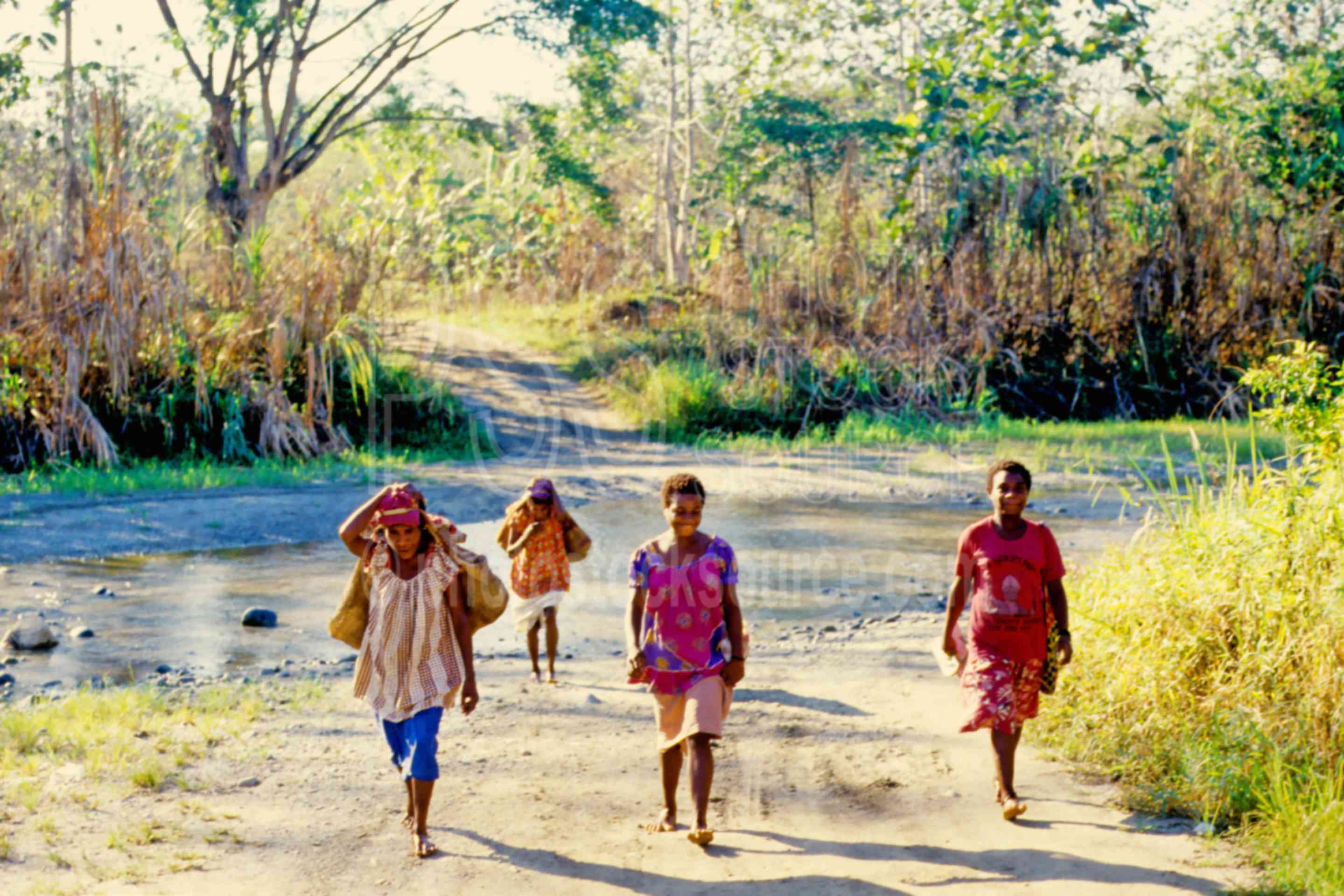 Women walking to market,bilum bag,river,walking,women