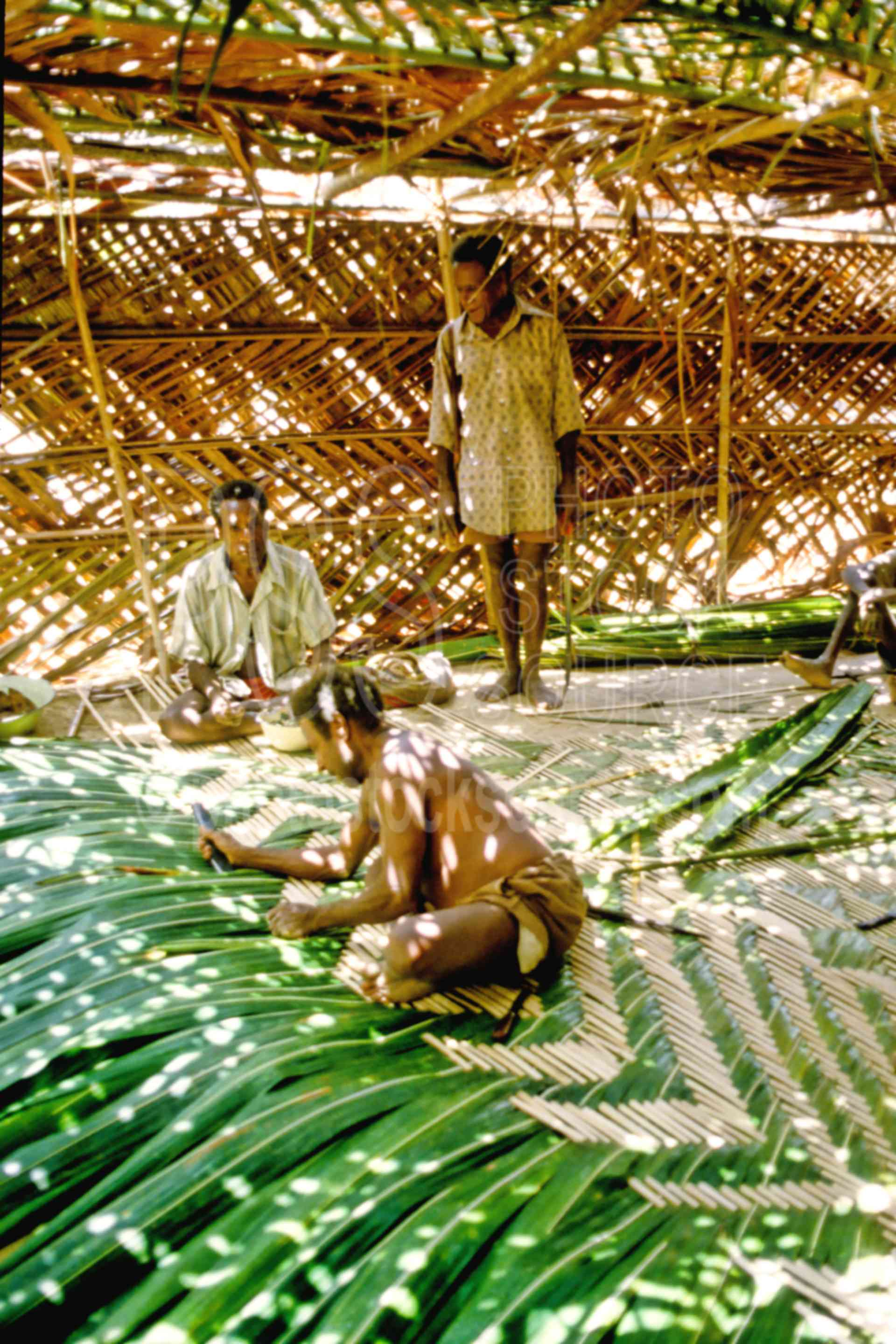 Men weaving palm fronds,leaves,mens,palm,weaving,work,working
