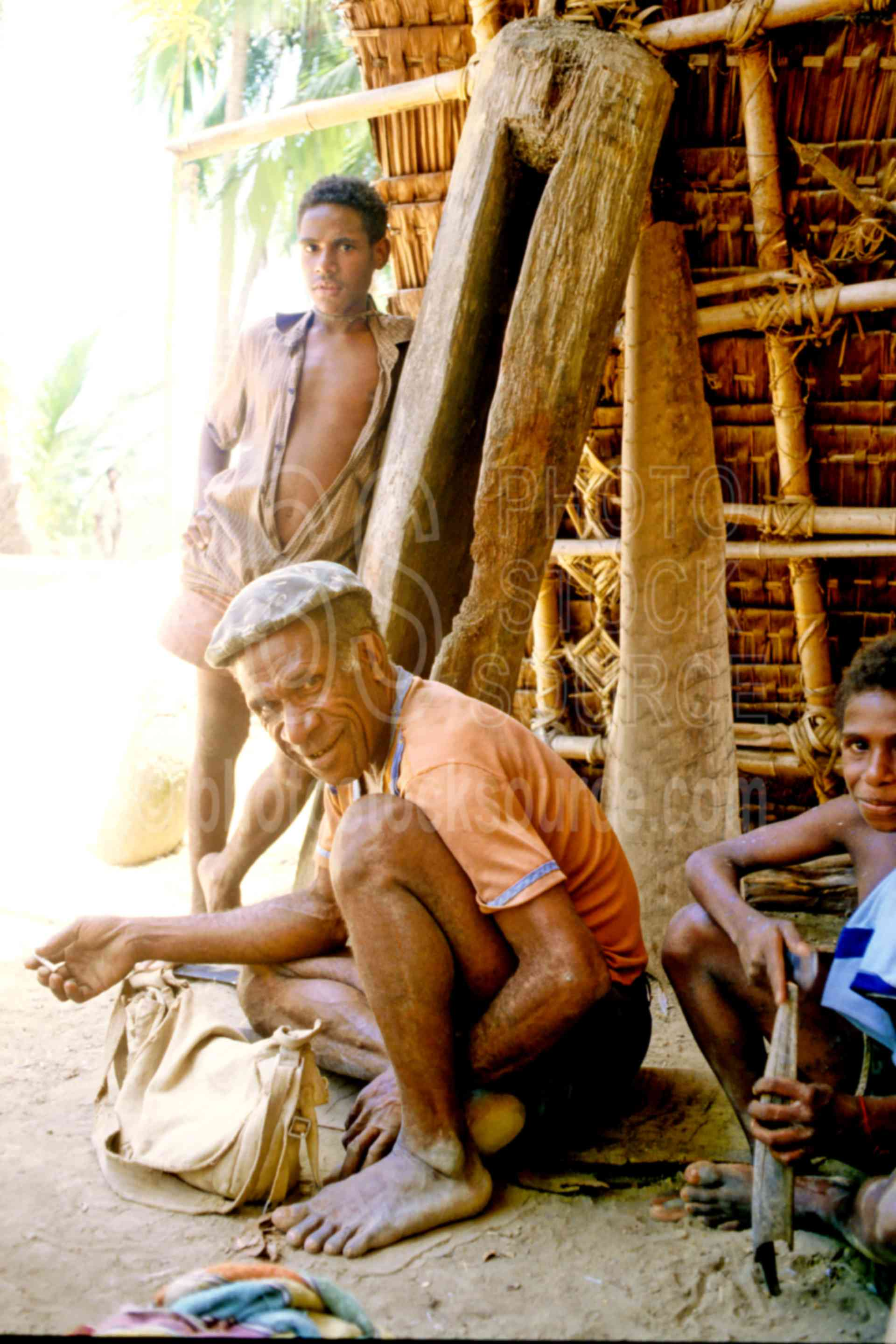 Big Man and Son,boys,haus tambaran,house,huts,mans,sons