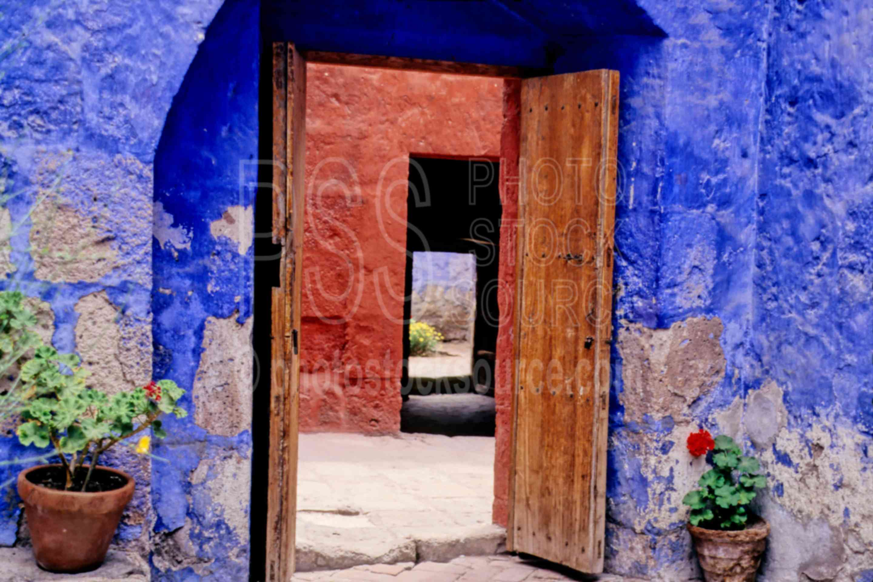 Multicolored Walls,convent,door,religious,potted plant,plants