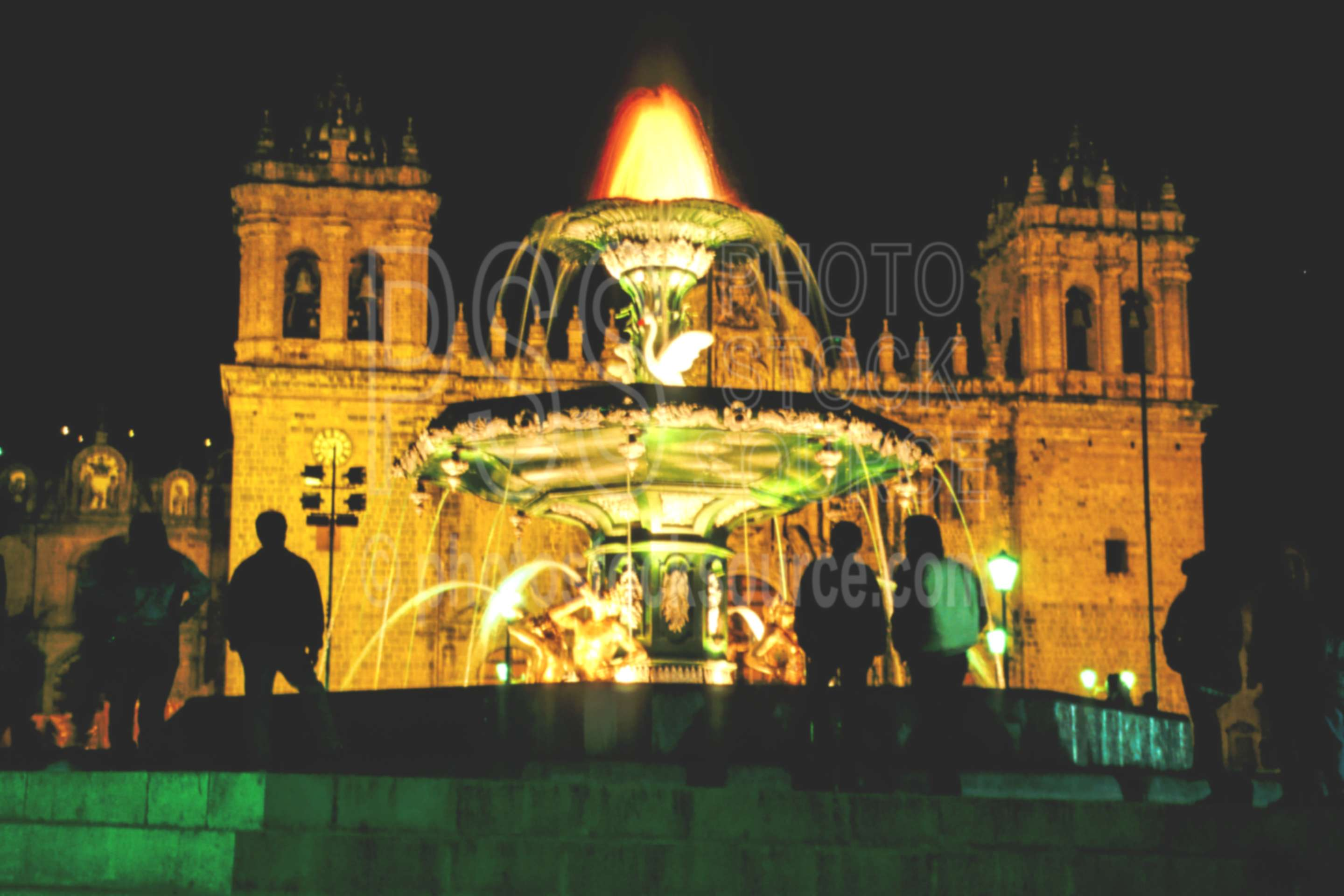 La Cathedral and Fountain,cathedral,church,fountain,peru churches,religion