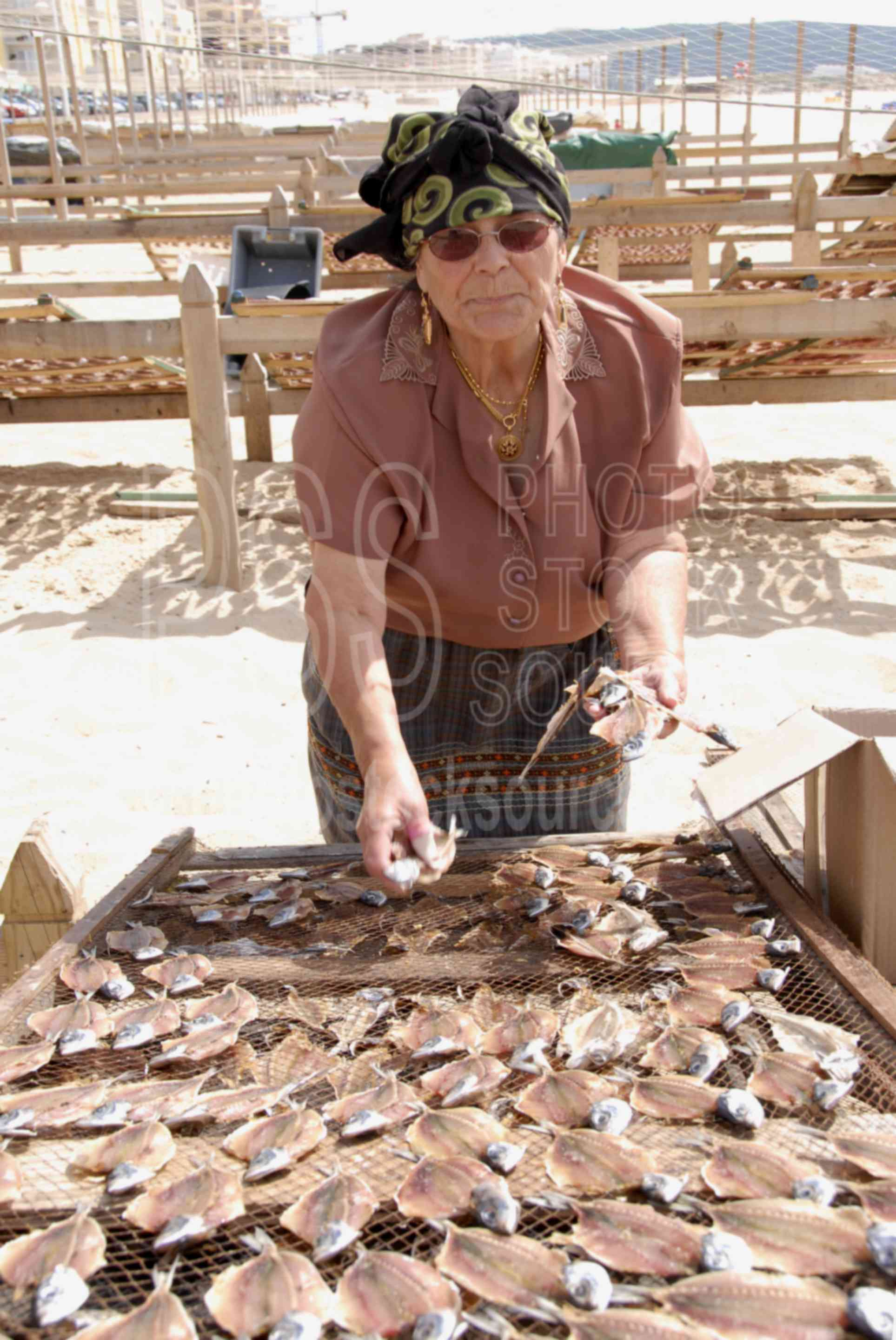 Woman Drying Fish,food,drying,fish,woman