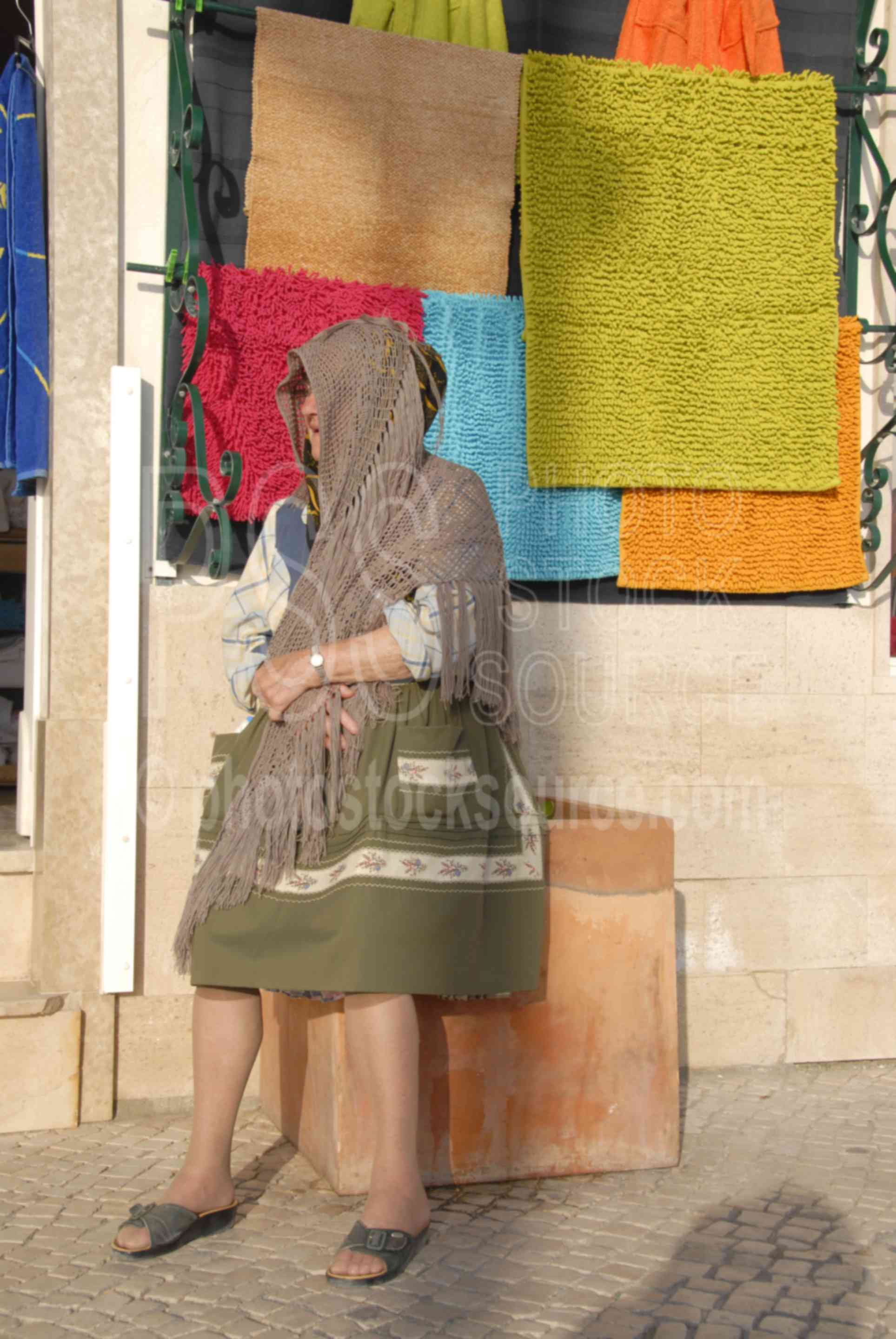 Lady Selling Knitted Shawls,lady,knit