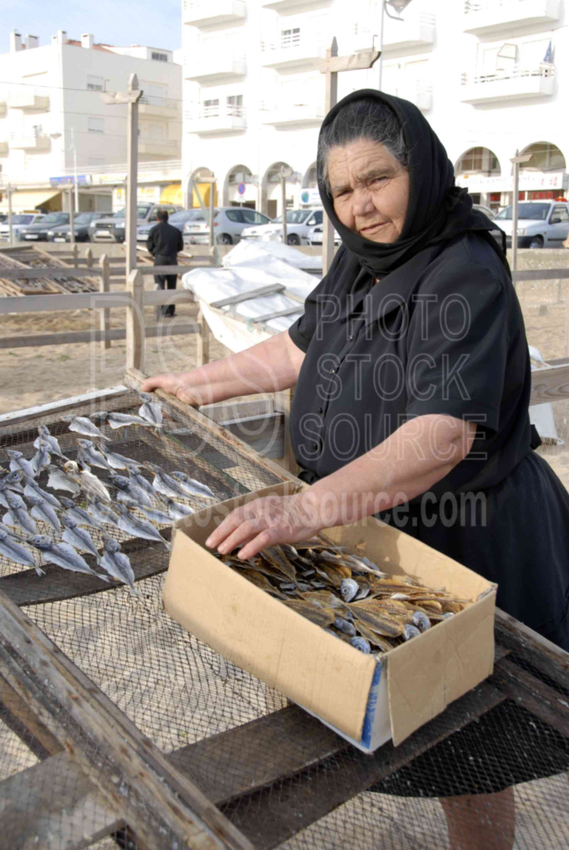Lady Drying Fish,drying,food,woman