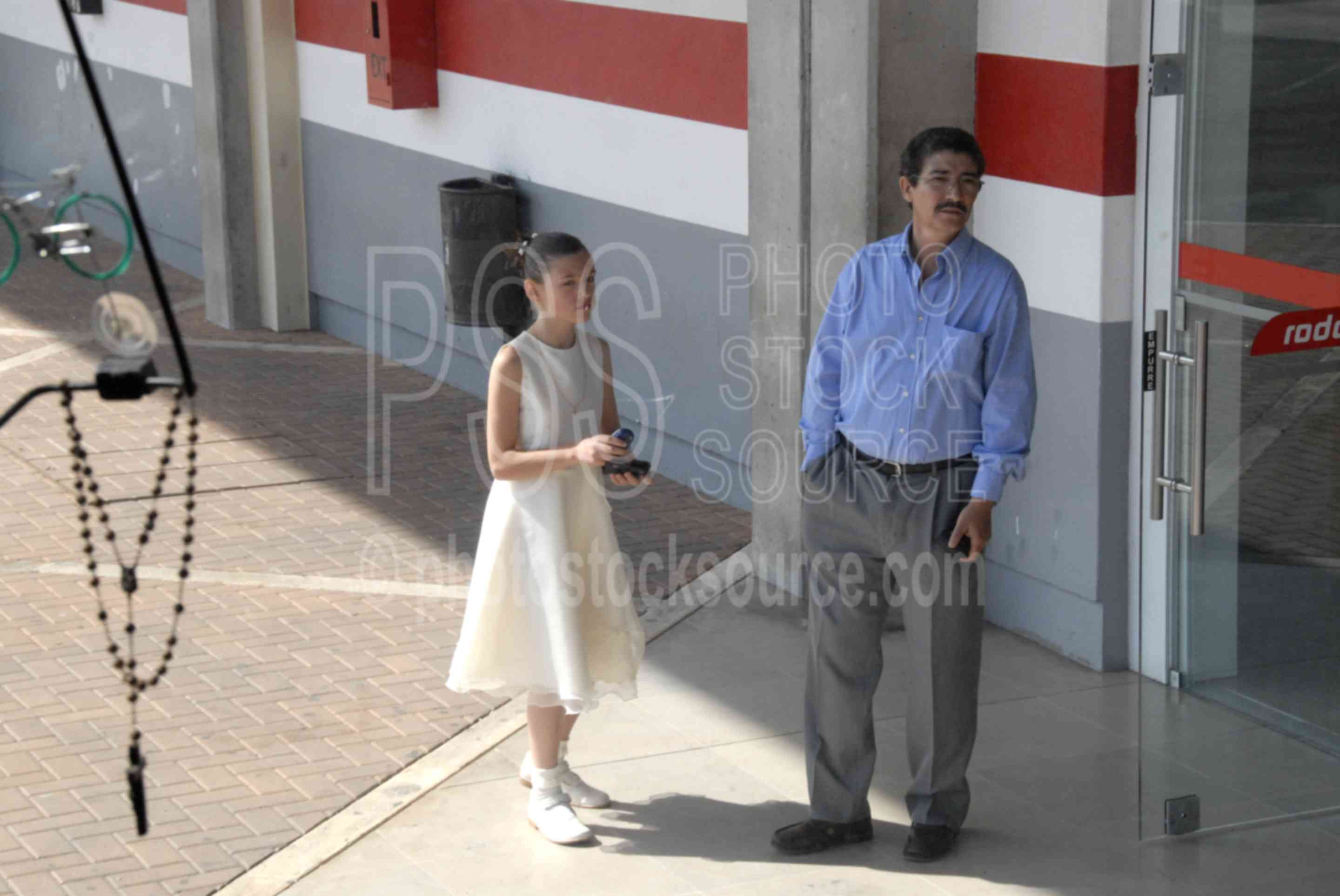 Waiting for a Bus,father,daughter,bus station,girl,young girl,pretty dress