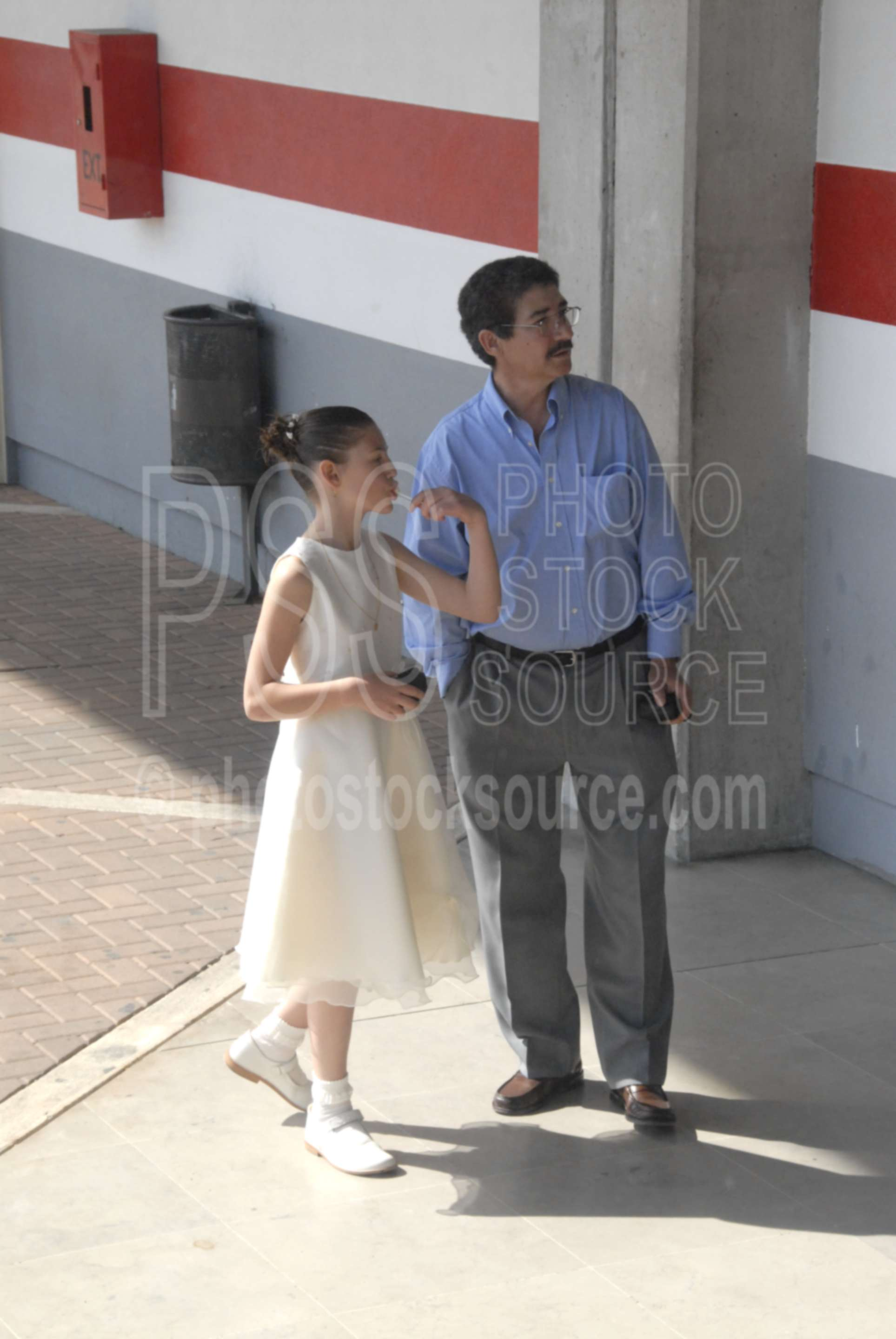Waiting for a Bus,father,daughter,bus station,girl,young girl,lollipop,pretty dress
