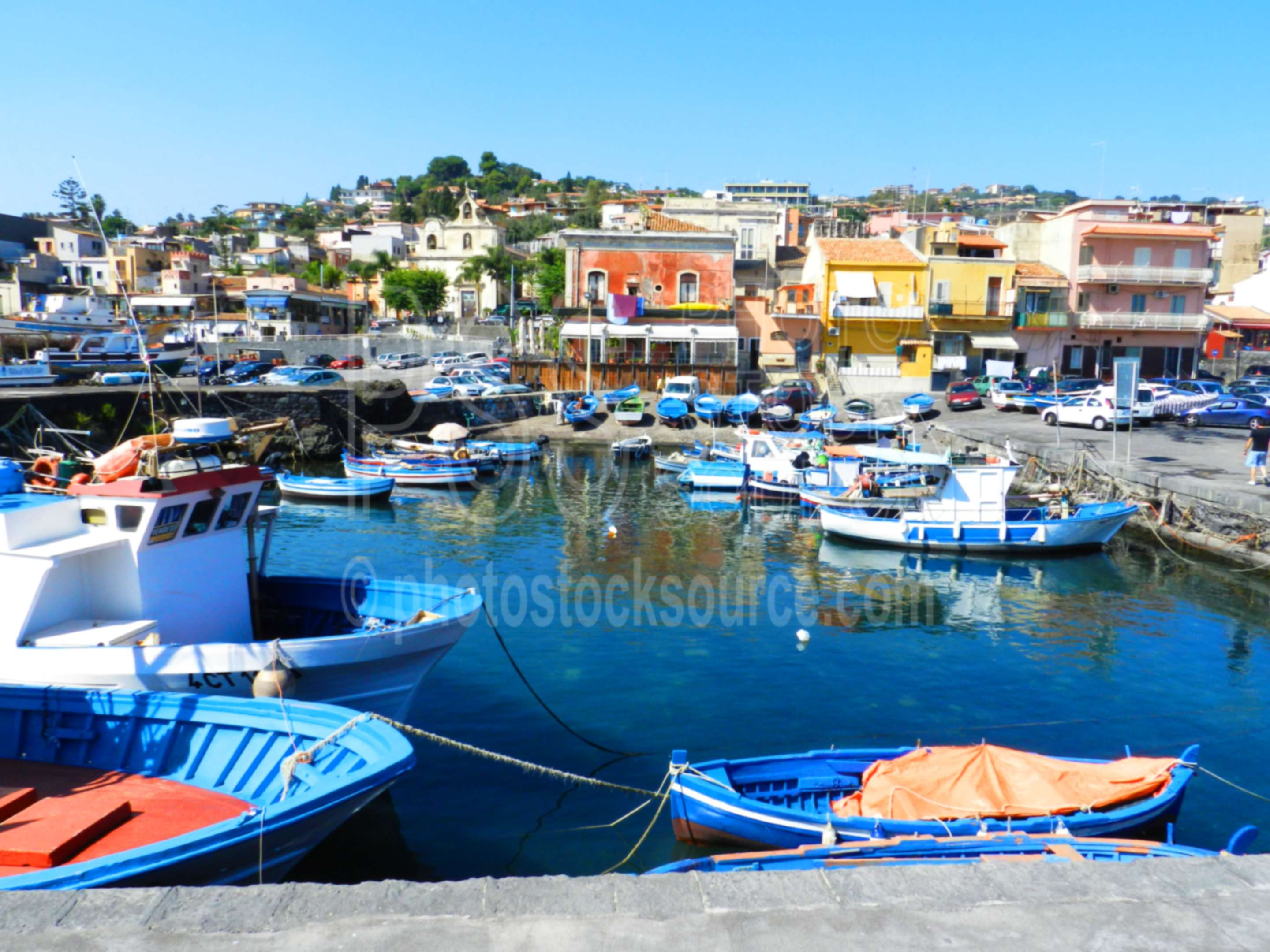 Boats in Acitrezza Harbor,harbor,fishing,boat,bay,waterfront