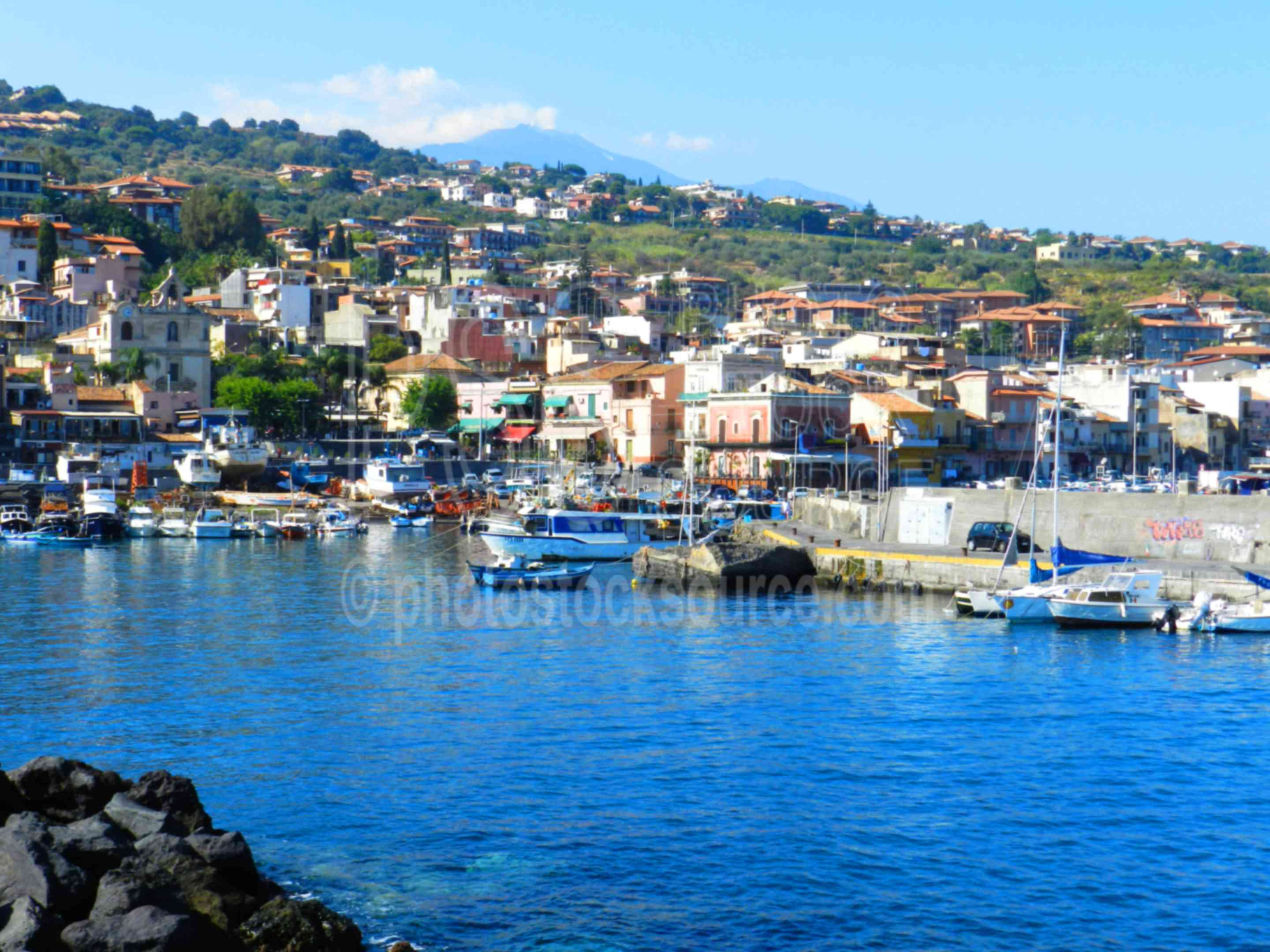 Mt. Etna  Acitrezza Harbor,harbor,fishing,boat,bay,waterfront,mt. etna,volcano,erupting,etnea