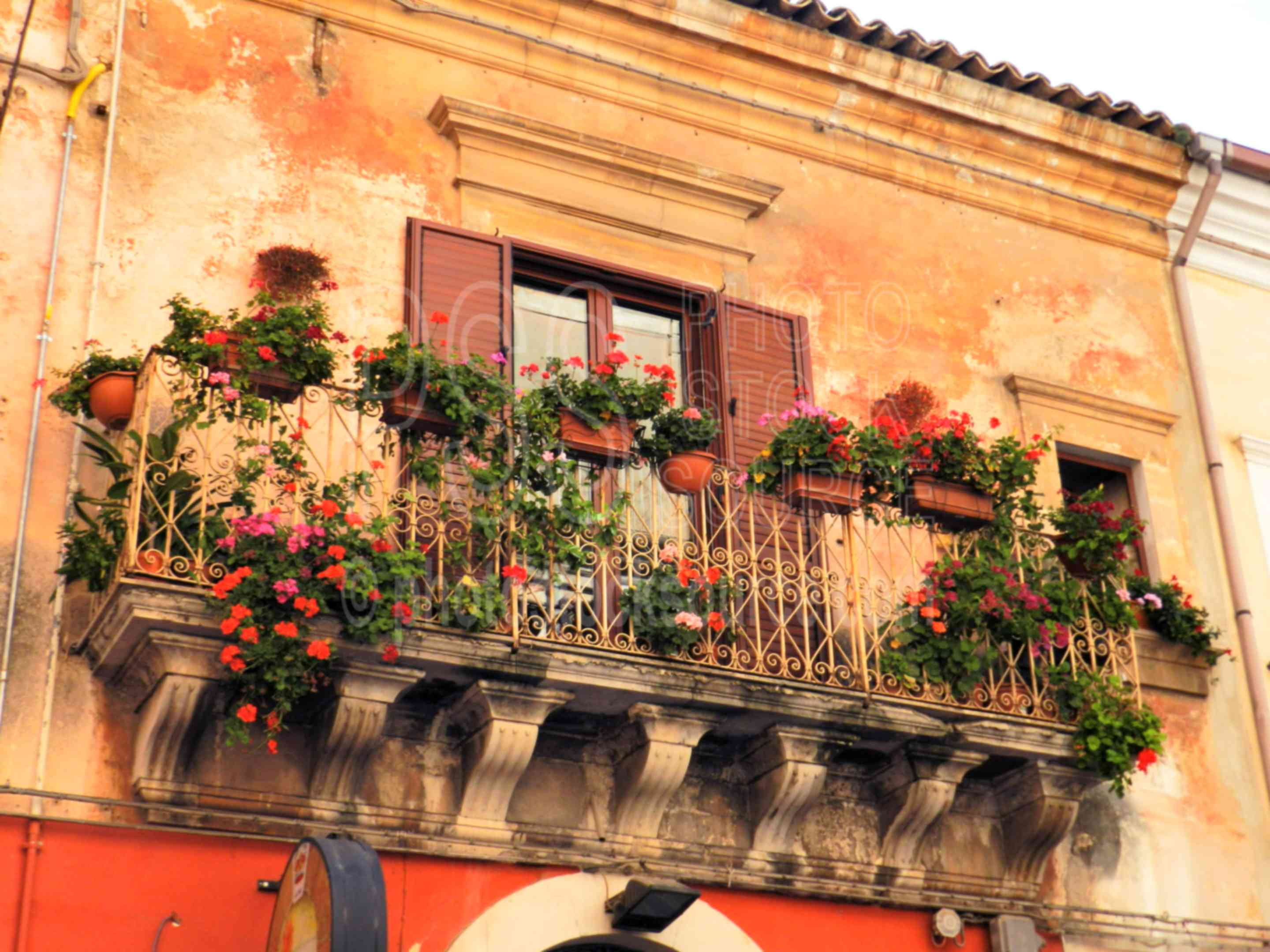 Baroque Balcony with Flowers,ragusa,ragusa ibl,baroque,balcony,wrought iron,flowers,flower pots