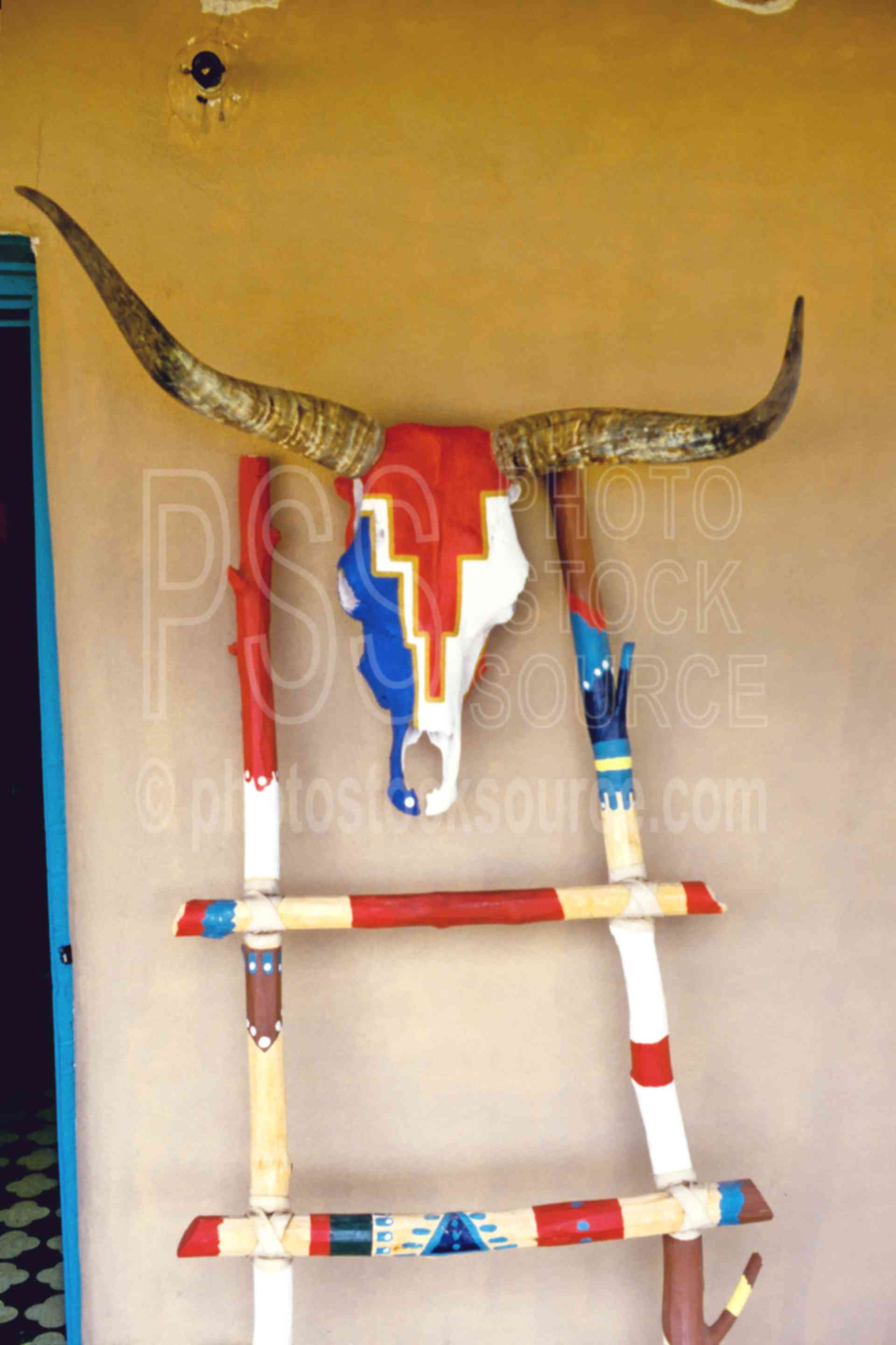 Painted Cow Skull,arts,ladder,skull,usas,native american