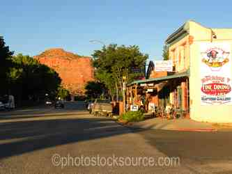 Kenab - The Rocking V cafe looking east up Center Street in downtown Kanab Utah