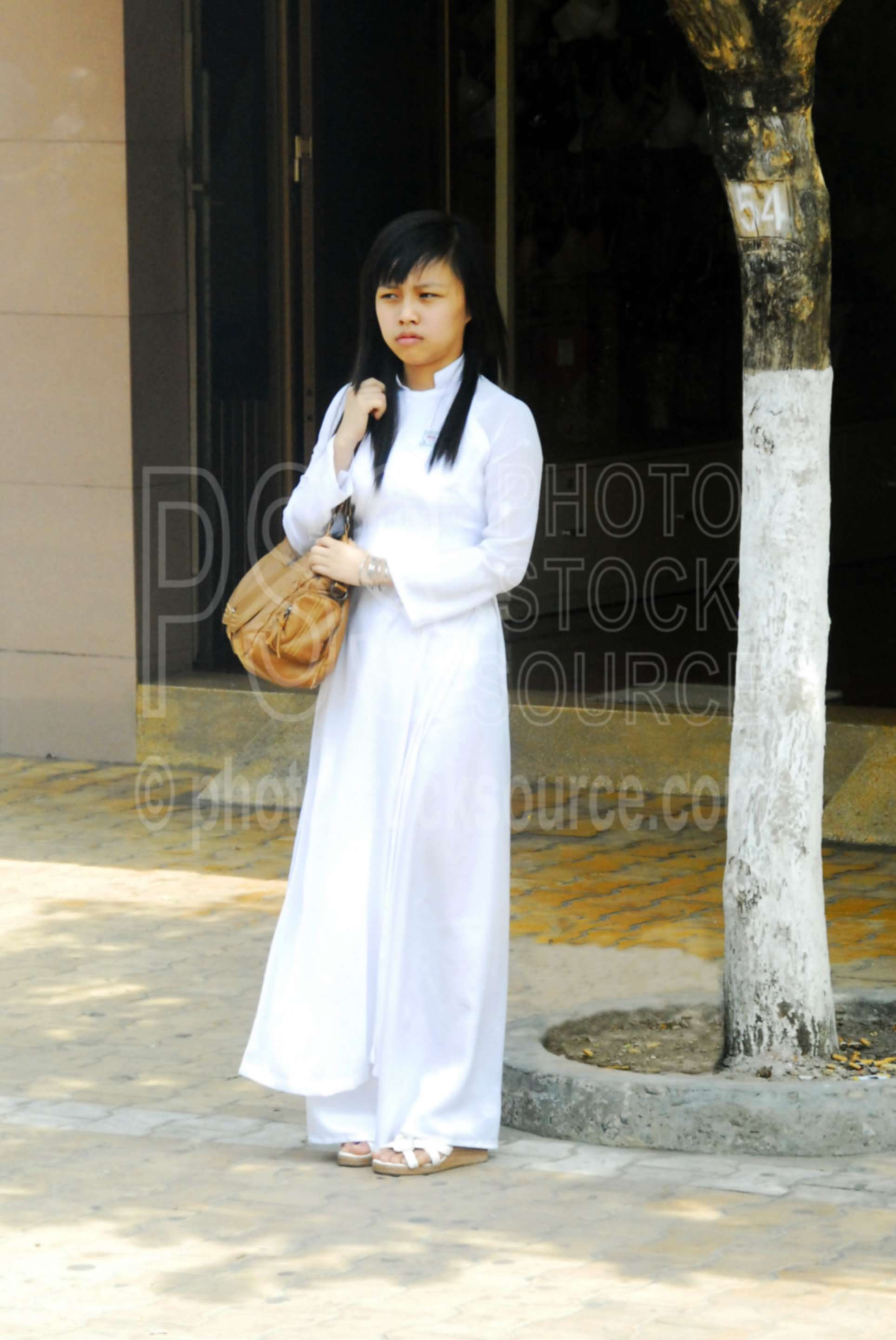 Photo of School Girl in Ao Dai Dress by Photo Stock Source ...