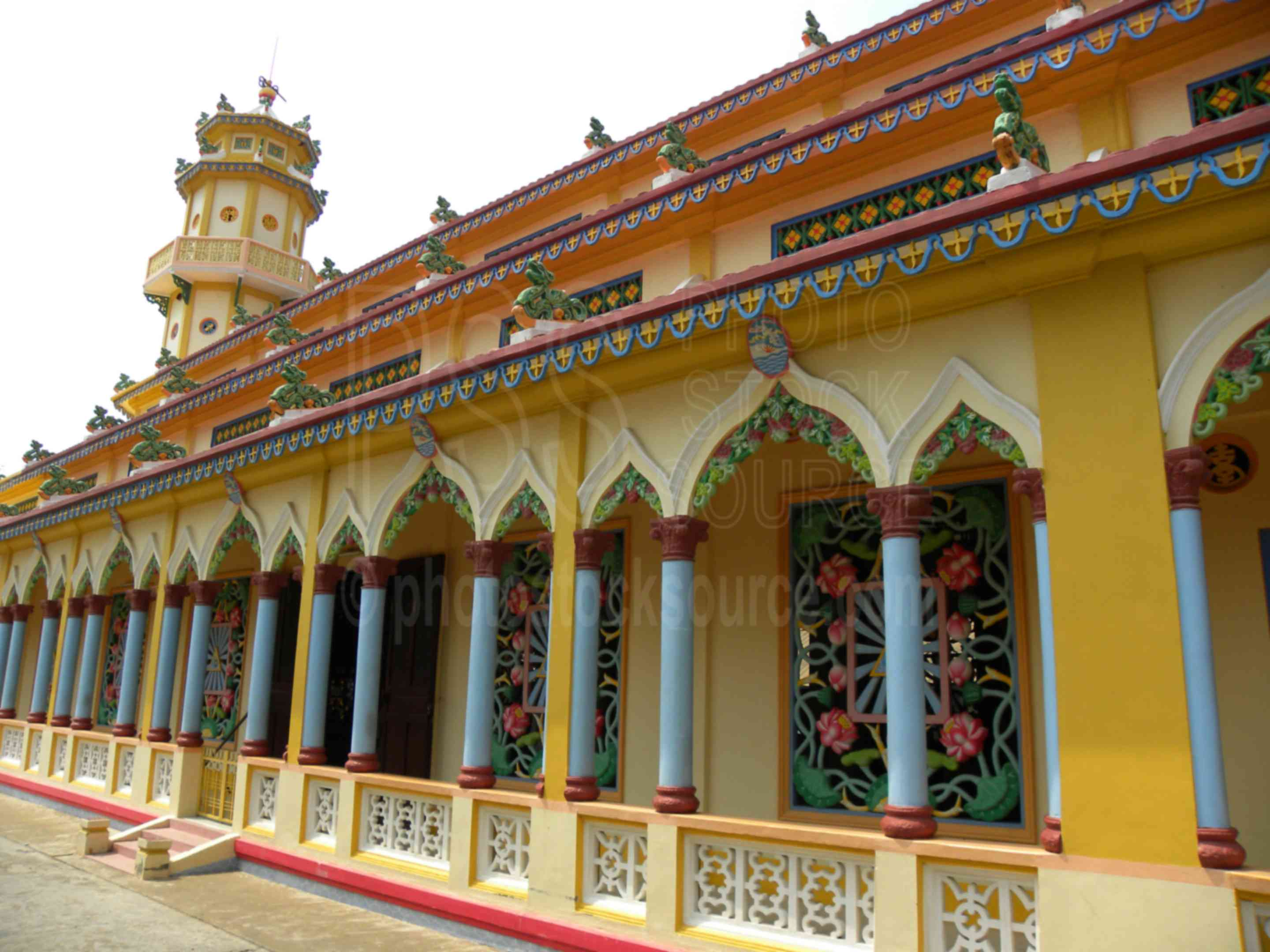 Cao Dai Temple,temple,entrance,worship,religious,painted,colorful,religion,church