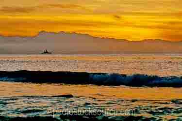 Warship at Sunset